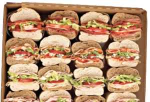 Which Wich Sandwich Tray featuring multiple sandwiches