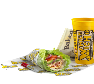 Which wich lettuce-wich with turkey and ham with chips and a drink